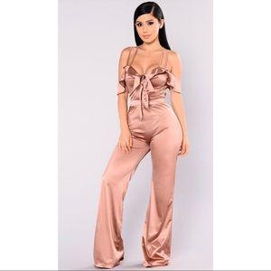 Fashion Nova Zaya Satin Jumpsuit - XL
